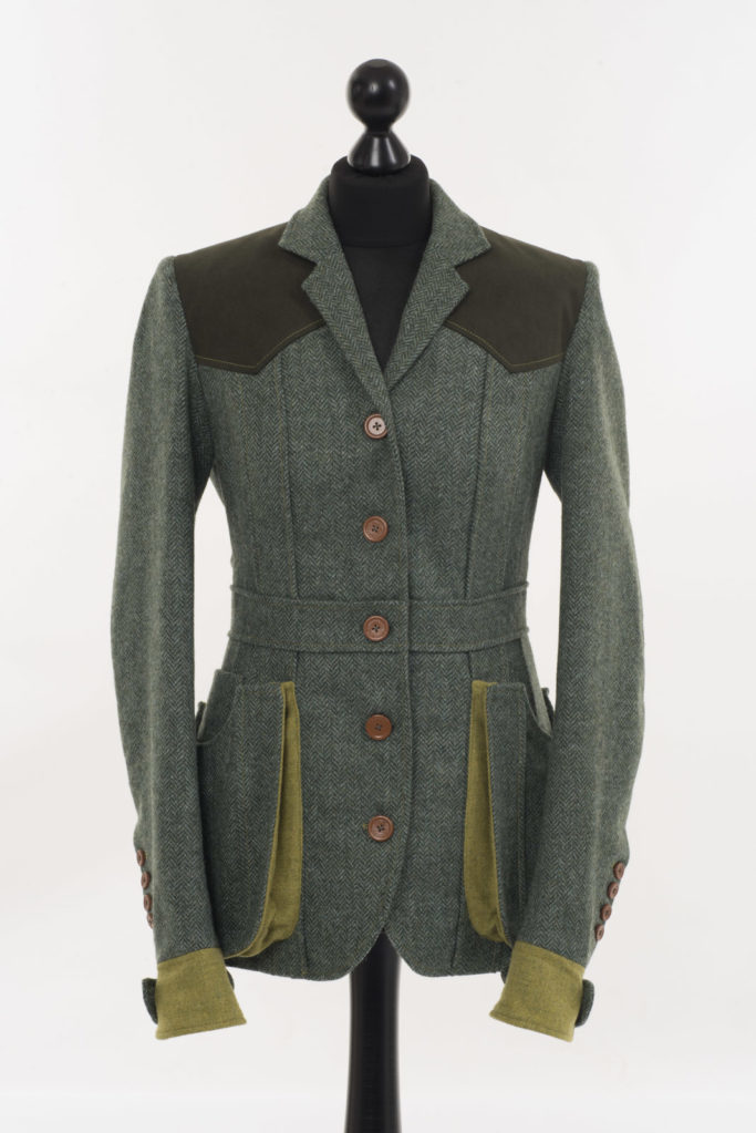 Ladies Norfolk Jacket – Green Herringbone – Made in England