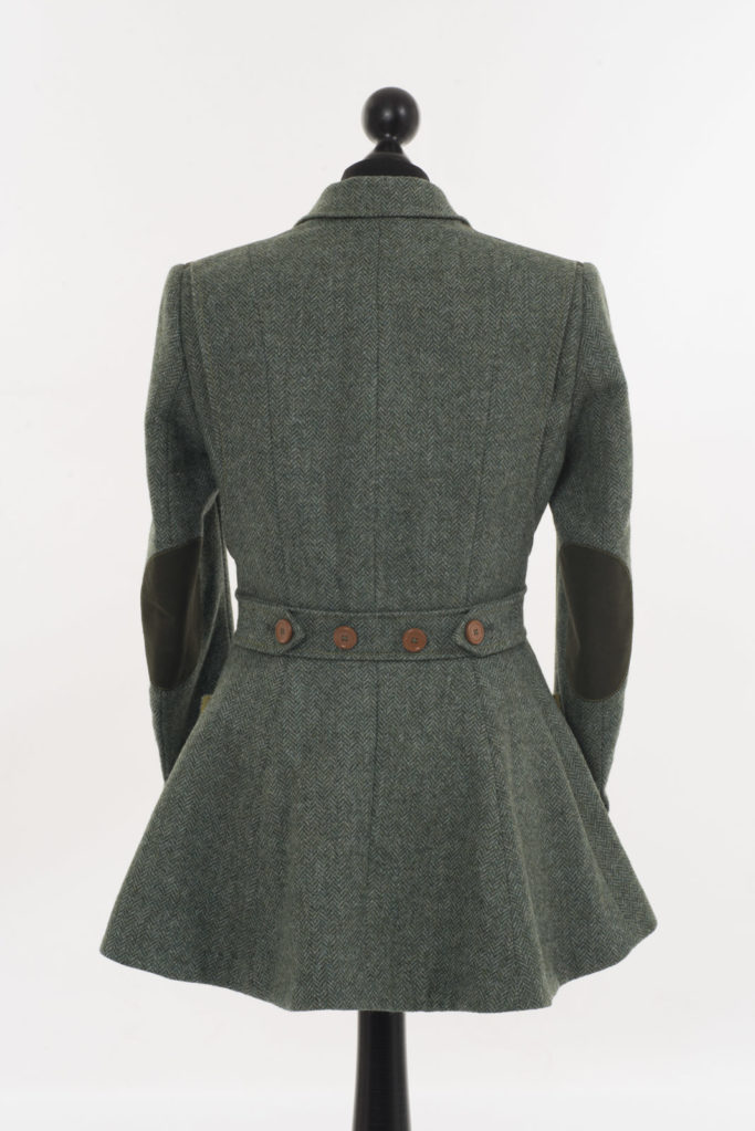 Ladies Norfolk Jacket – Green Herringbone – Made in England