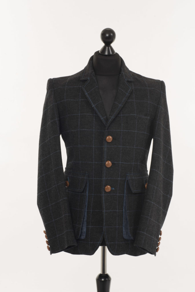 Sarsfield Jacket – Charcoal with Blue Check – Made in England
