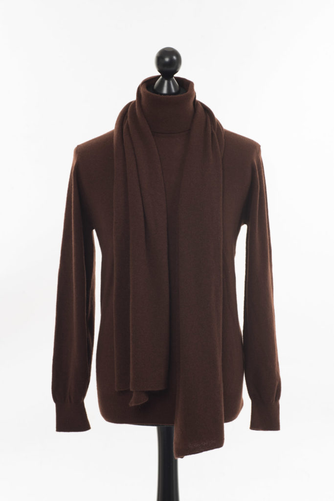 Mens Cashmere Polo Neck – Cocoa