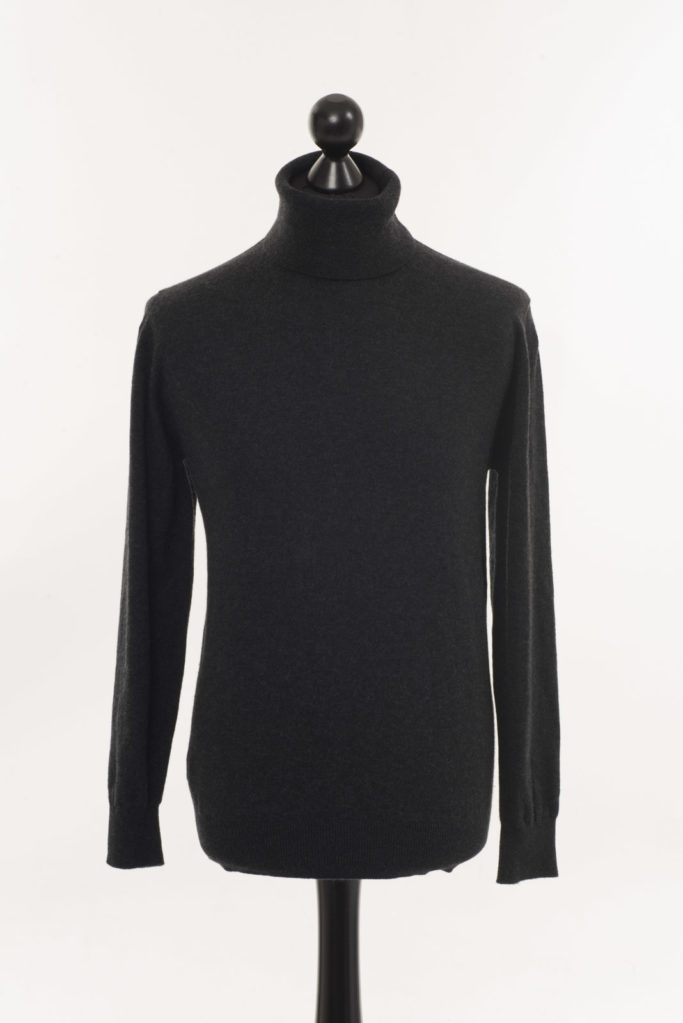 Mens Cashmere Polo Neck – Charcoal Grey