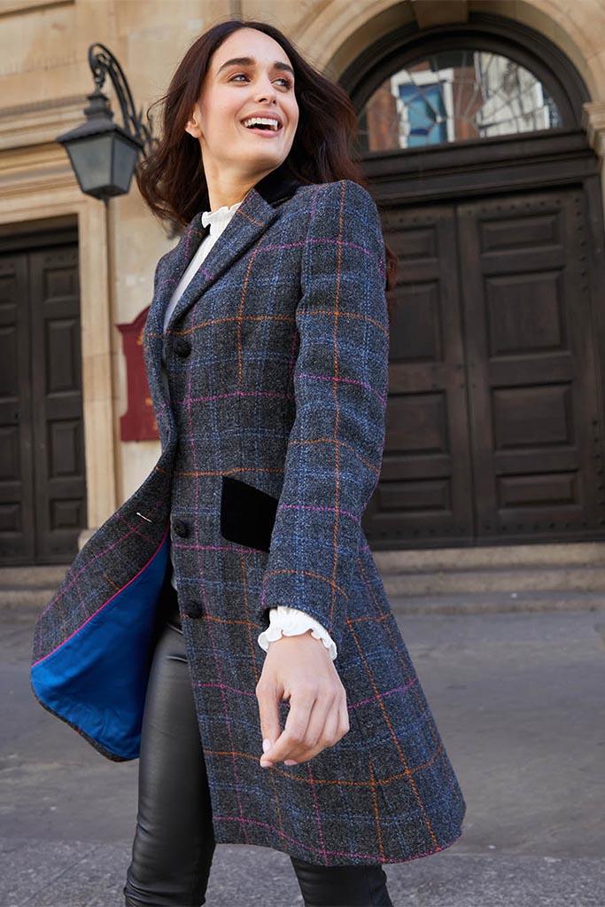 Mayo Coat – Dark Grey Harris Tweed – Made in England