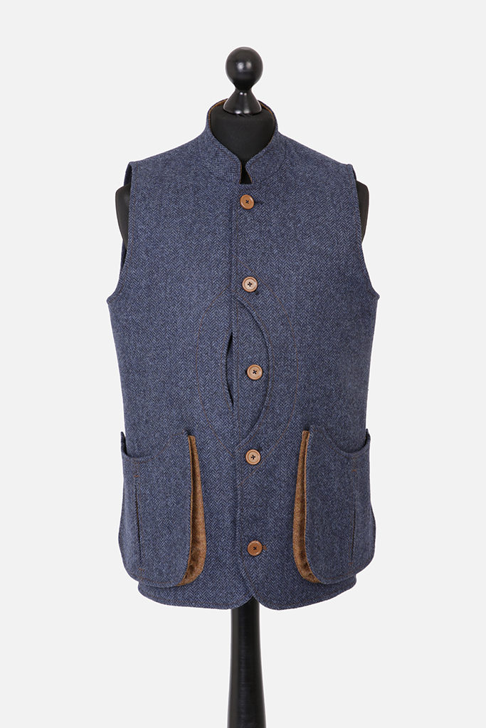 Mens Gilet – Dark Blue Denim Herringbone with Ginger Brown Pop – Made in England