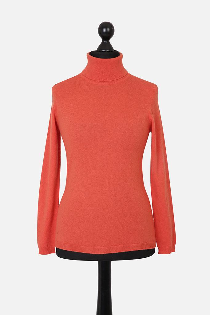 Ladies Slim Fit Cashmere Polo Neck – Burnt Orange