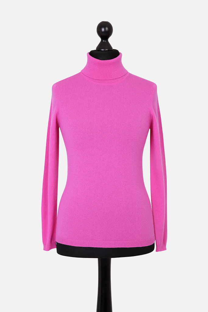 Ladies Slim Fit Cashmere Polo Neck – Fuchsia