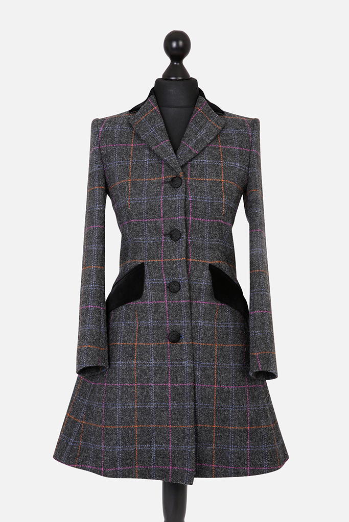Mayo Coat – Dark Grey Harris Tweed – Made in England