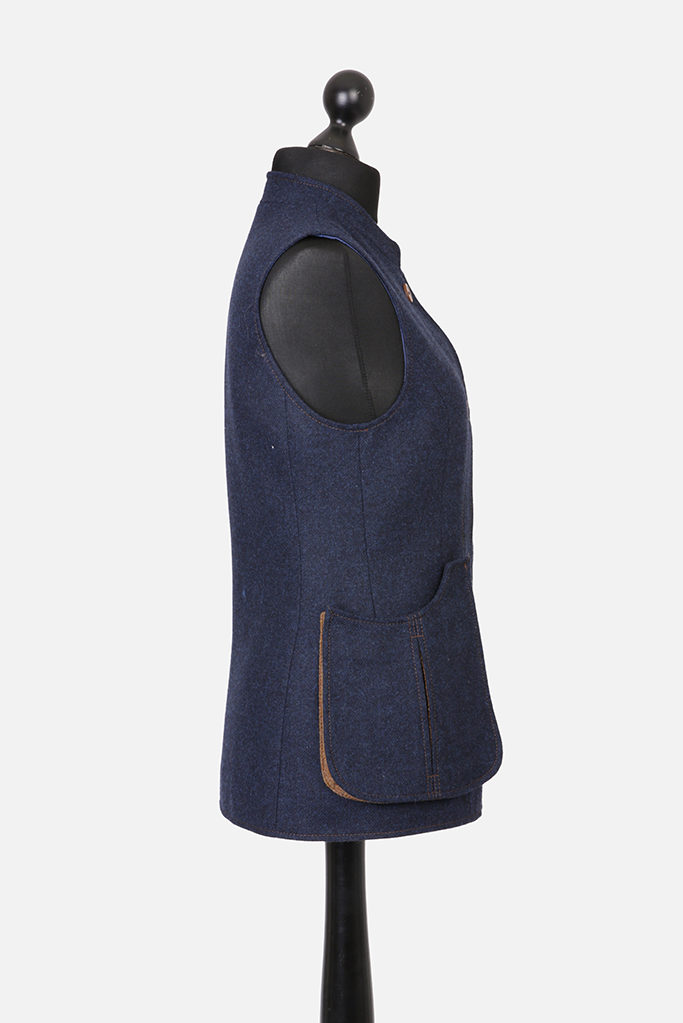 Ladies Nehru Gilet – Indigo Tweed with Ginger Brown Pop – Made in England