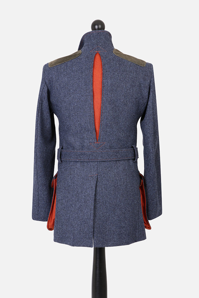 Norfolk Jacket – Denim Blue Herringbone – Made in England