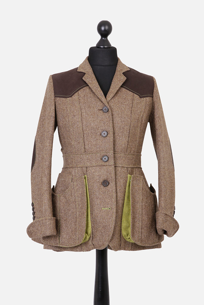 Ladies Norfolk Jacket – Brown Herringbone – Made in England
