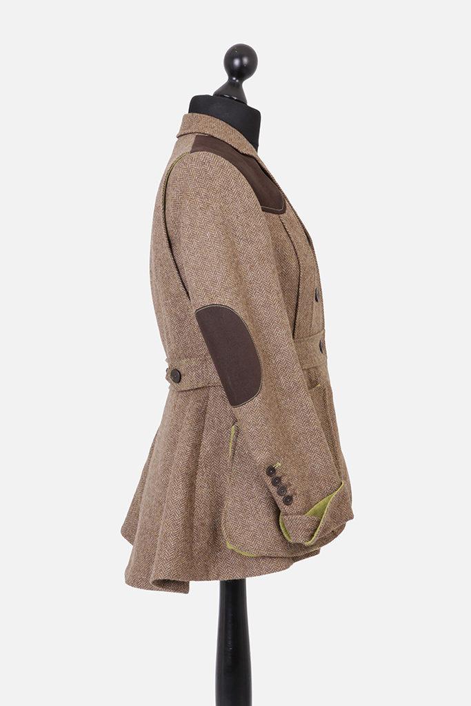 Ladies Norfolk Jacket – Brown Herringbone – Made in England