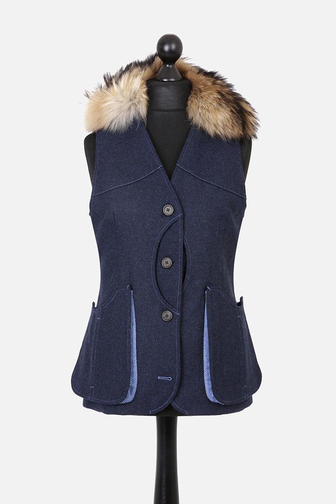 Ladies Gilet Vest in Indigo Herringbone – Made in England – Award Winning Style