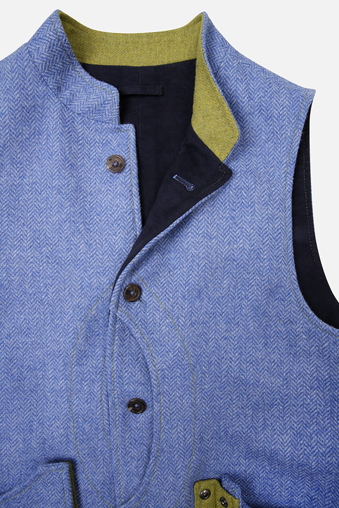 Mens Gilet – Light Blue Herringbone – Made in England
