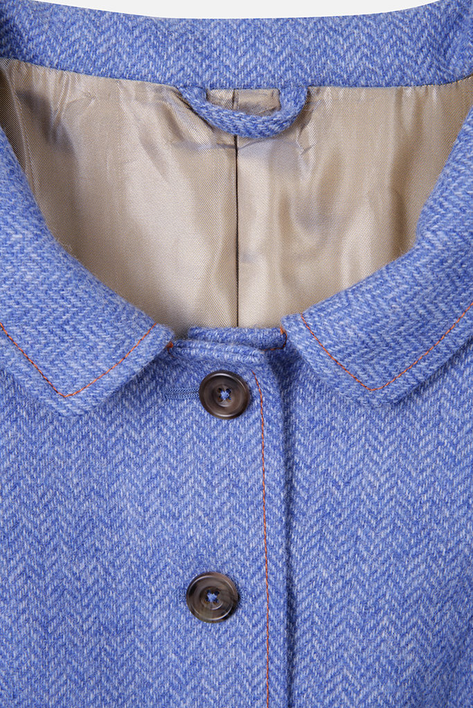 Castlebar Coat – Blue Herringbone – Made in England