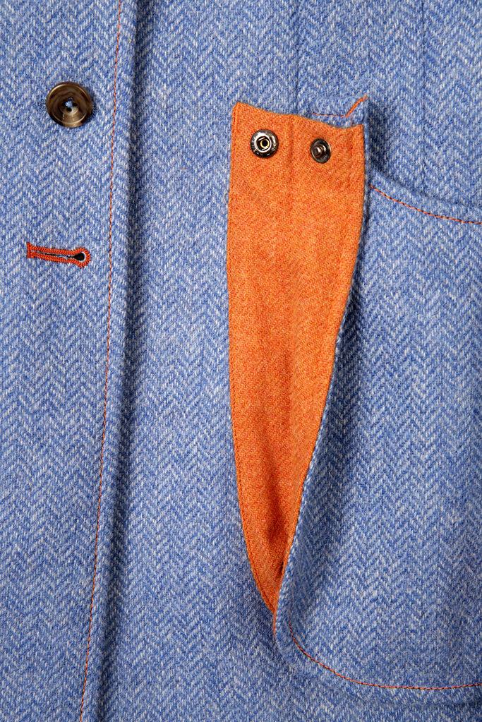 Sligo Coat – Blue Herringbone – Made in England