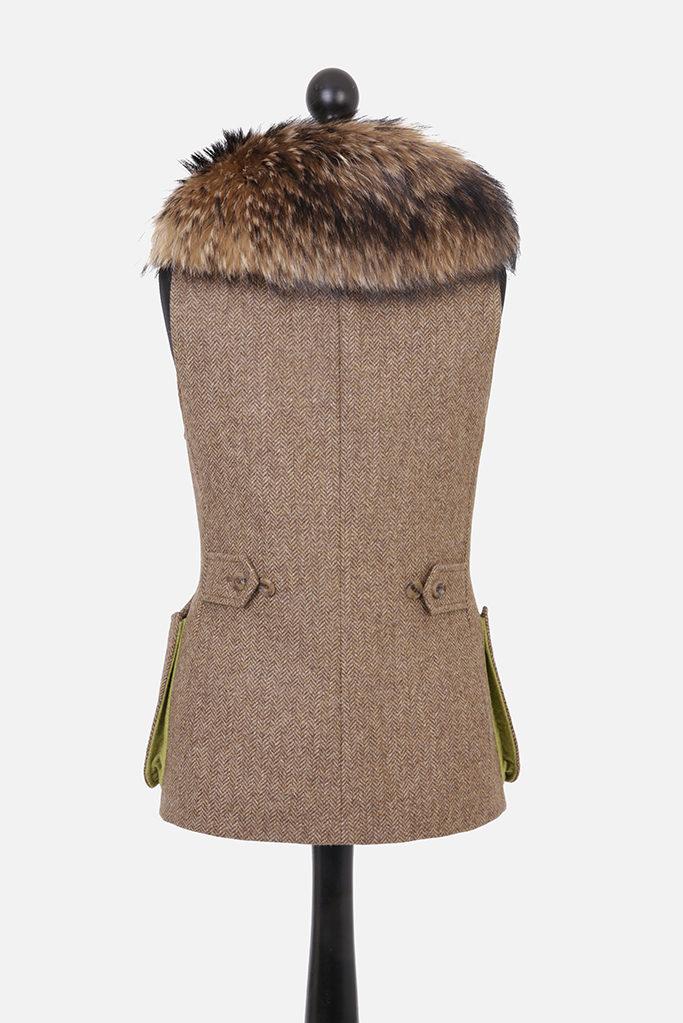 Ladies Gilet Vest in Brown Herringbone – Gold Winner of Best Ladies Shooting Garment UK Shooting Awards 2019