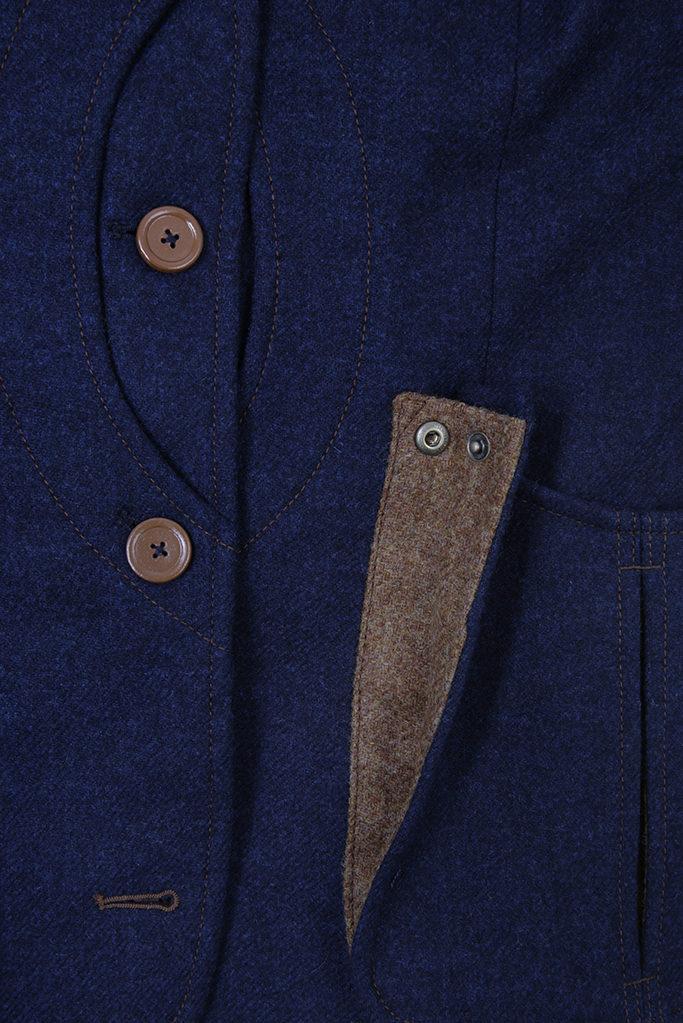 Ladies V-Neck Gilet – Indigo Tweed with Ginger Brown Pop – Made in England