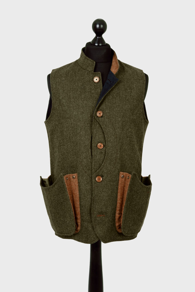 Mens Gilet – Loden Green Donegal with Ginger Brown Pop – Made in England