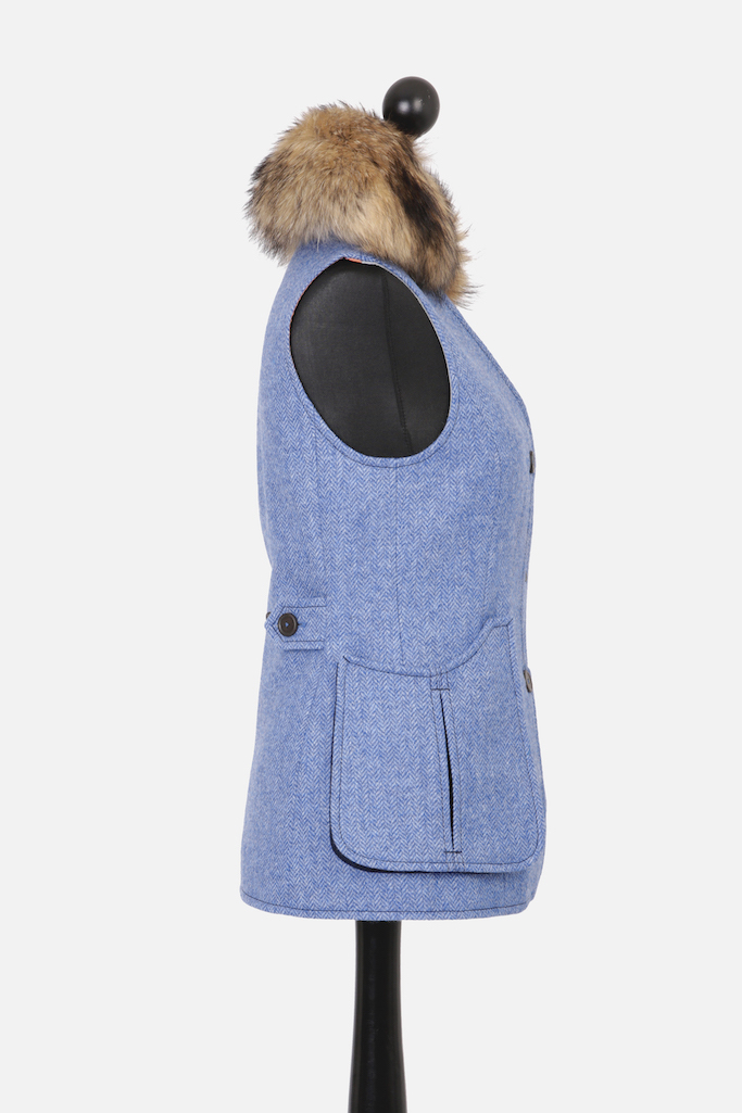 Ladies V-Neck Gilet – Light Blue Herringbone Tweed with Indigo Pop – Made in England