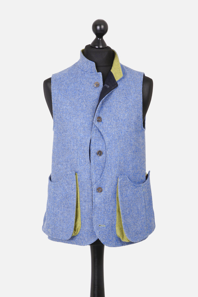 Mens Gilet – Light Blue Herringbone – Made in England