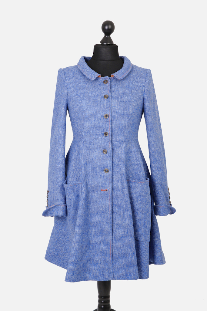 Castlebar Coat – Blue Herringbone – Made in England