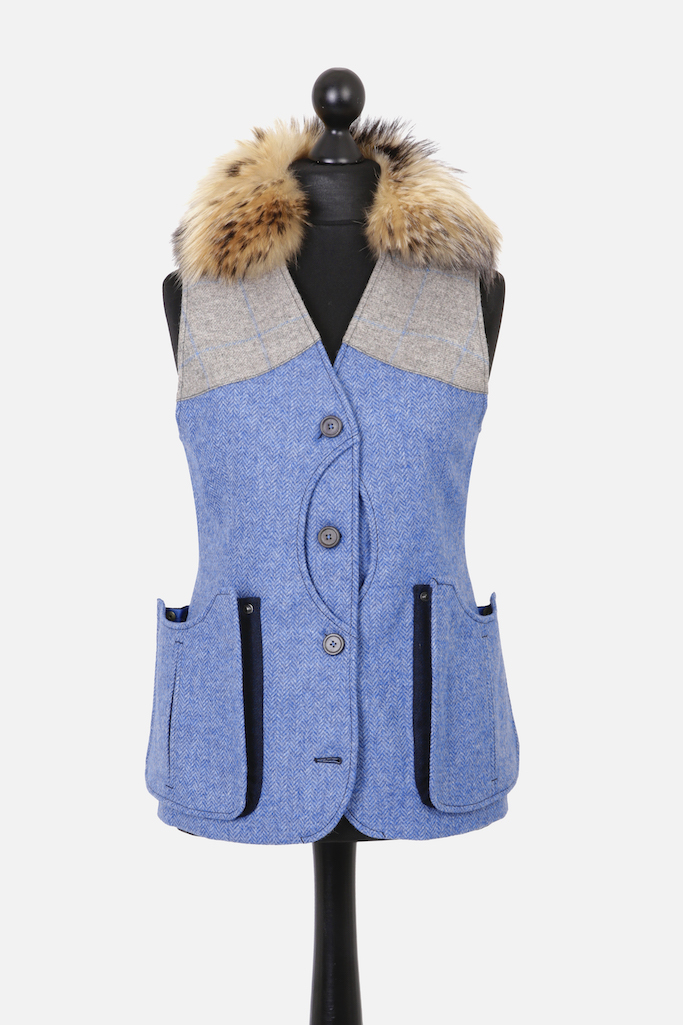 Ladies Gilet Vest in Light Blue Herringbone – Made in England – Award Winning Style