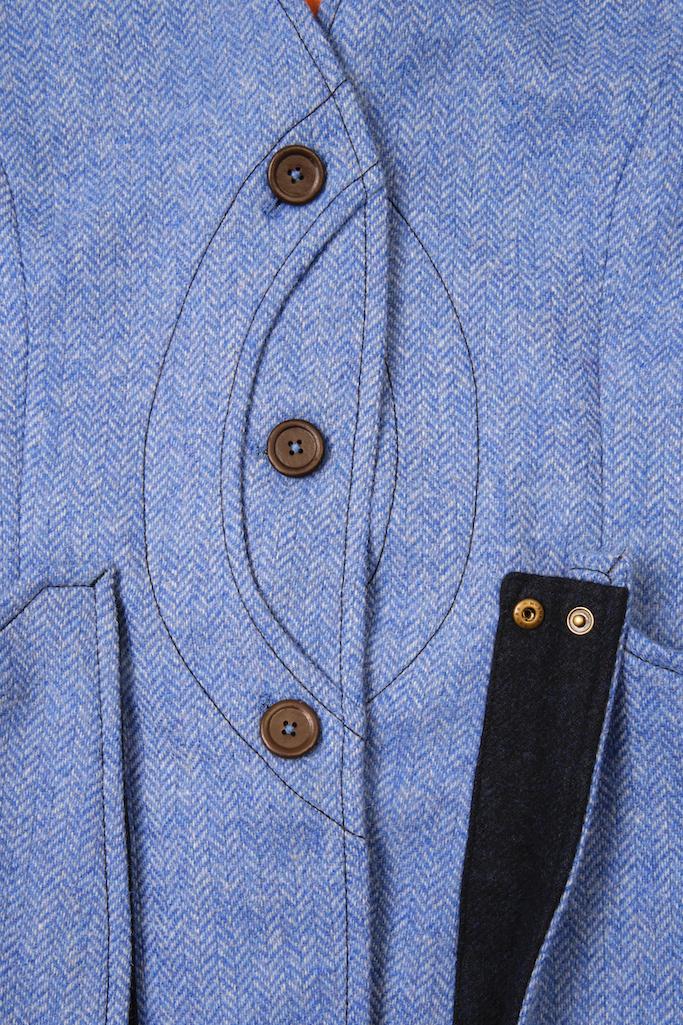 Ladies Gilet Vest in Light Blue Herringbone – Made in England – Award Winning Style
