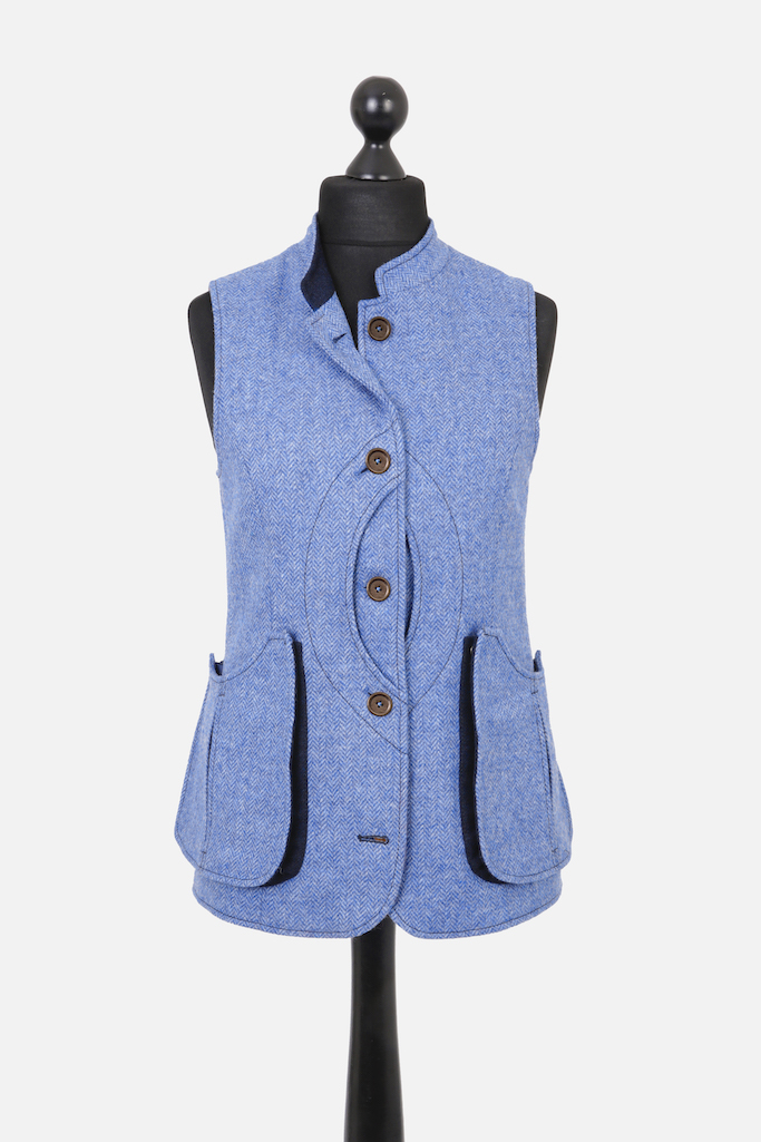 Ladies Nehru Gilet – Light Blue Herringbone Tweed with Indigo Pop – Made in England