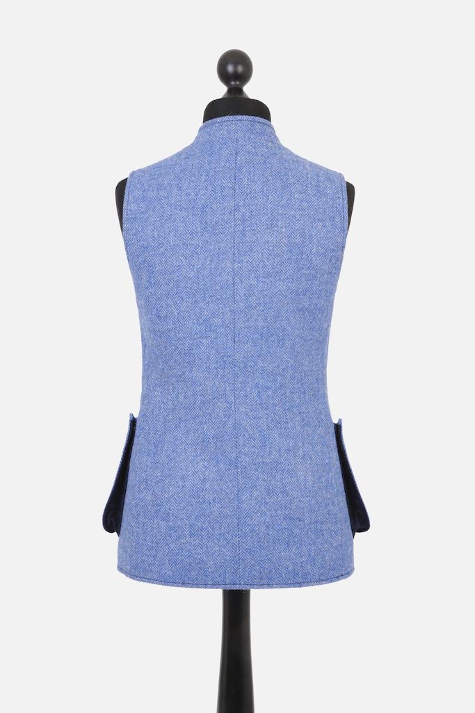 Ladies Nehru Gilet – Light Blue Herringbone Tweed with Indigo Pop – Made in England