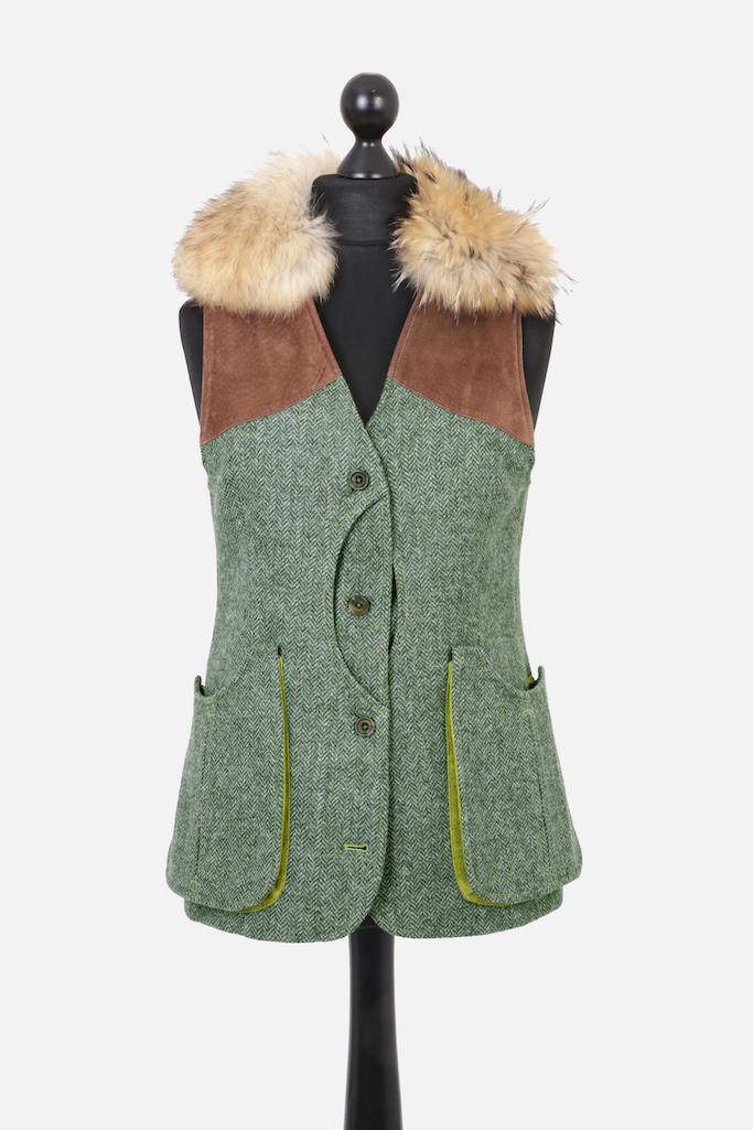 Ladies Gilet Vest in Green Herringbone – Gold Winner of Best Ladies Shooting Garment UK Shooting Awards 2019