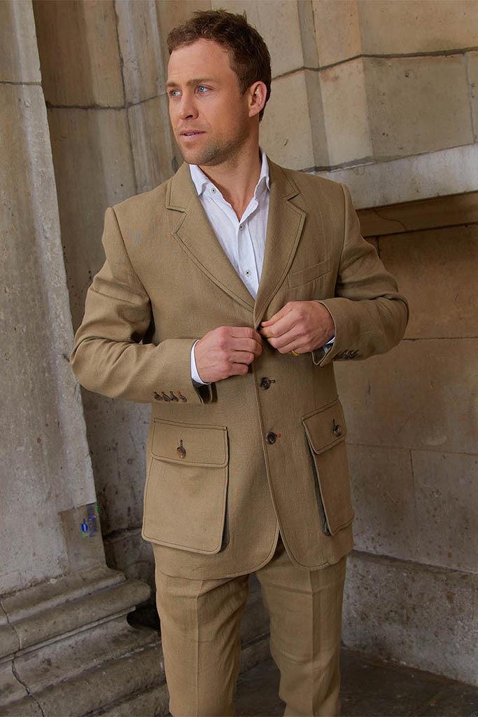 Sarsfield Jacket – Coffee Irish Linen – Made in England