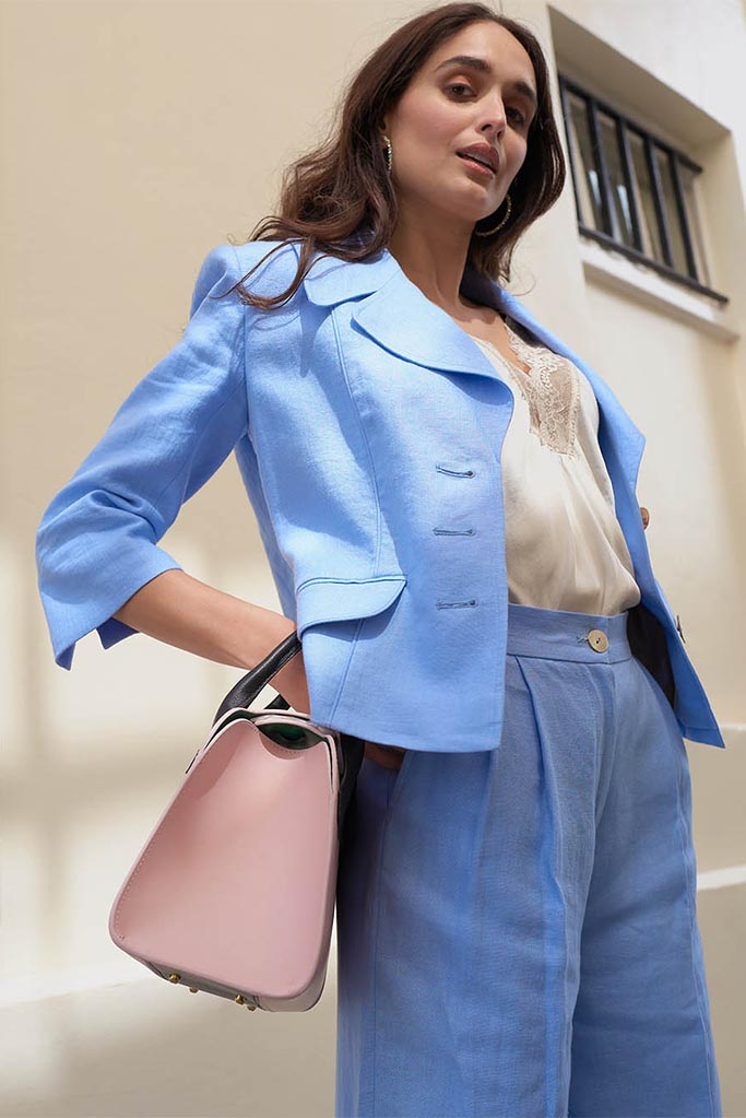 Ladies Balla Jacket – Cool Blue Linen – Made in England