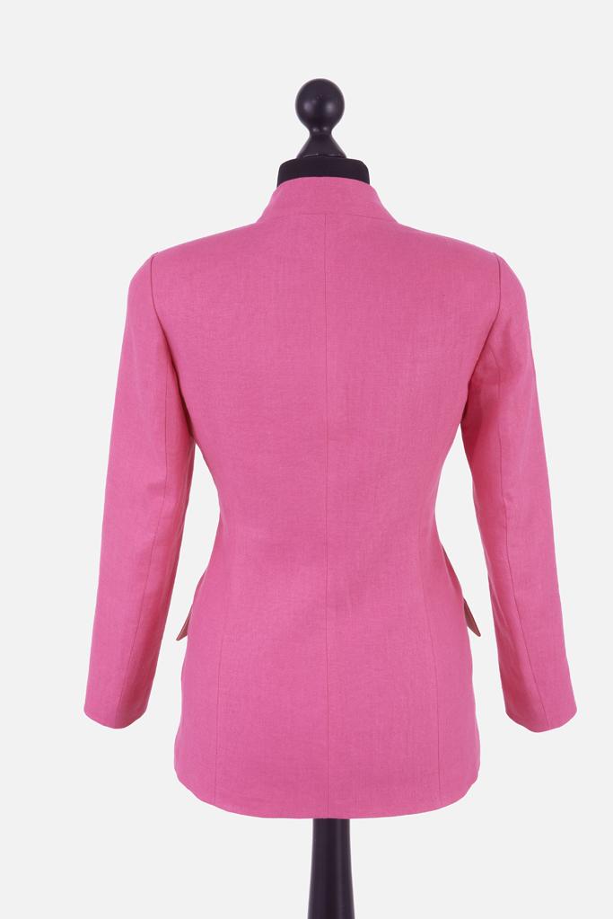 Ladies Carra Jacket – Fuchsia Irish Linen – Made in England