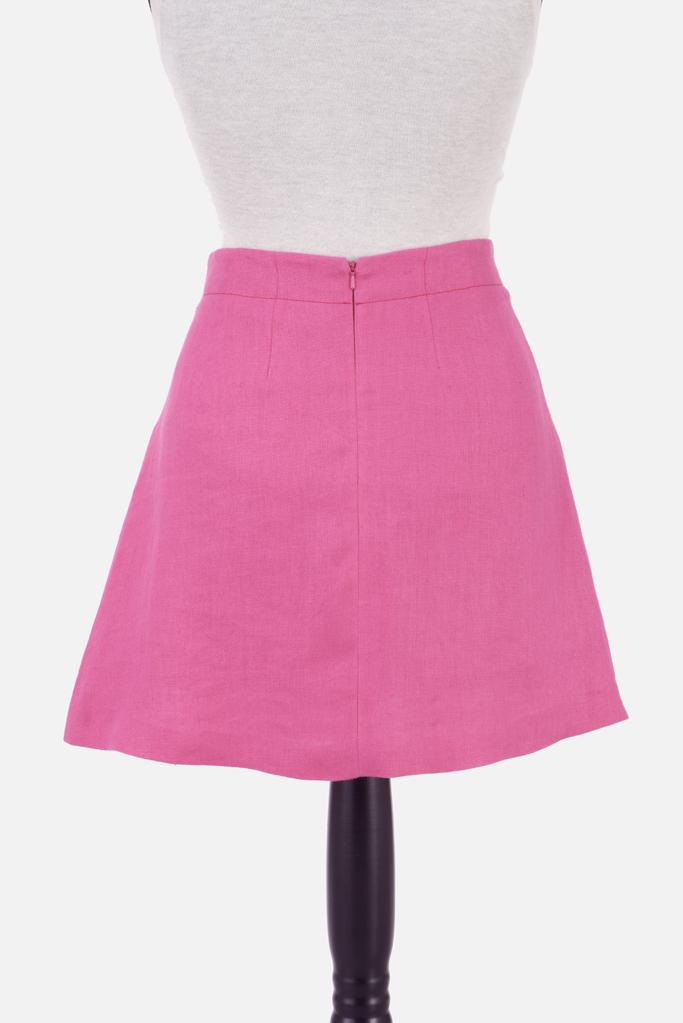 Pleated Mini Skirt – Fuchsia Irish Linen – Made in England