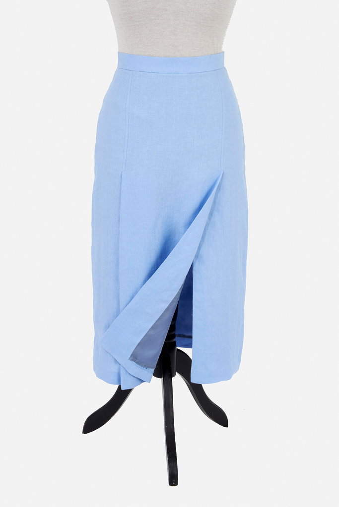 Ladies Thigh Split Pencil Skirt – Cool Blue Linen – Made in England