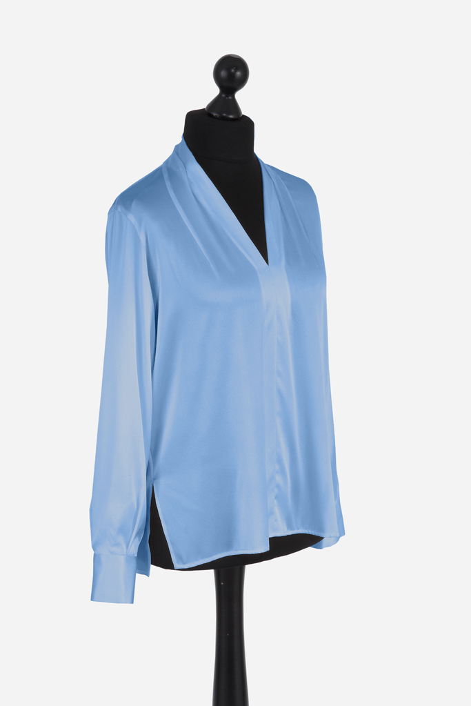 Ladies Tunic Shirt – Cool Blue Silk – Made in England