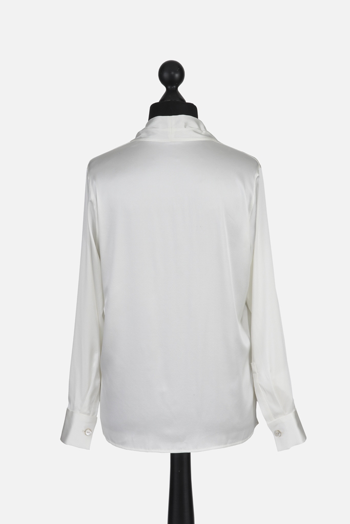 Ladies Tunic Shirt – White Silk – Made in England