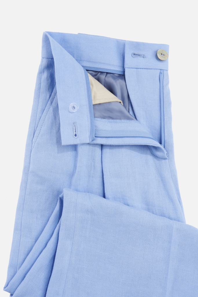 Ladies Palazzo Pants – Cool Blue Linen – Made in England