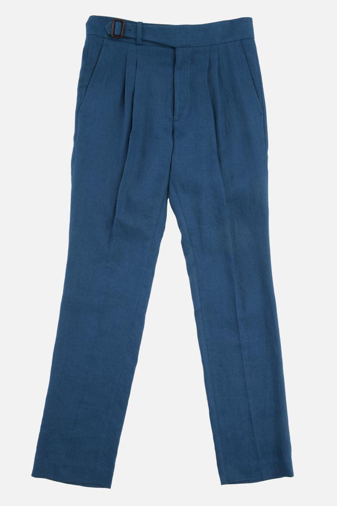 The Lucan Gurkha Trouser – Celtic Blue Irish Linen – Made in England