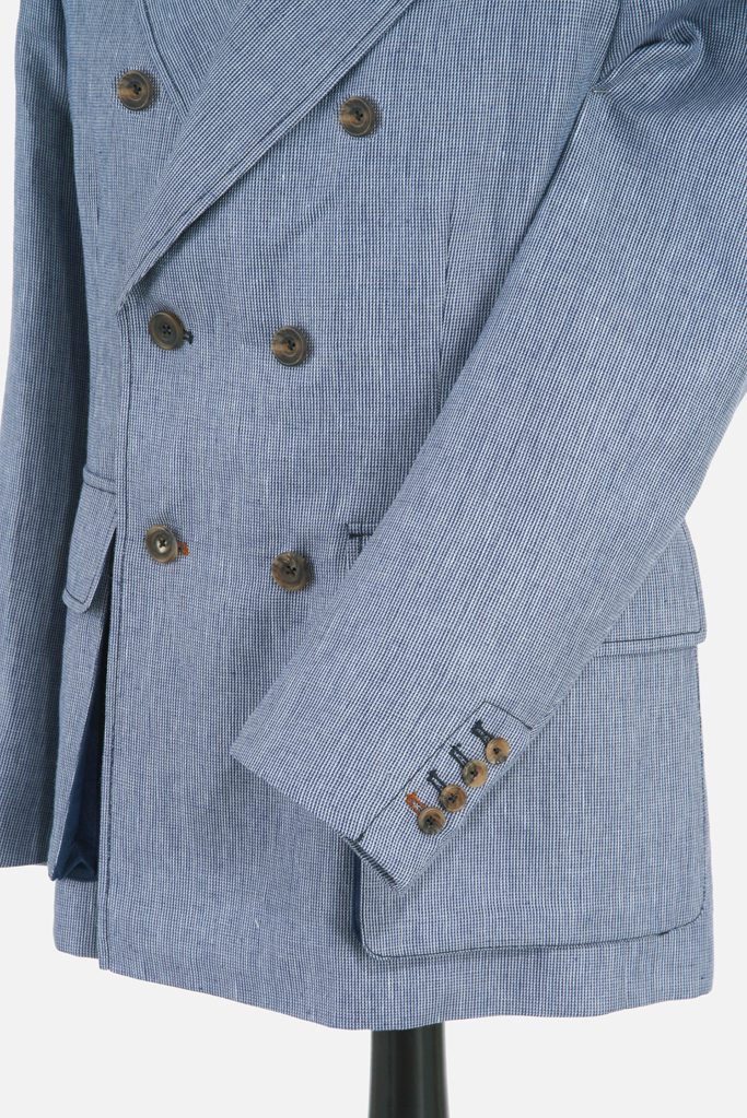 Clanmorris Jacket – Marine Wool-Linen Microcheck – Made in England