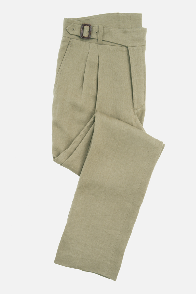 The Lucan Gurkha Trouser – Coffee Irish Linen – Made in England
