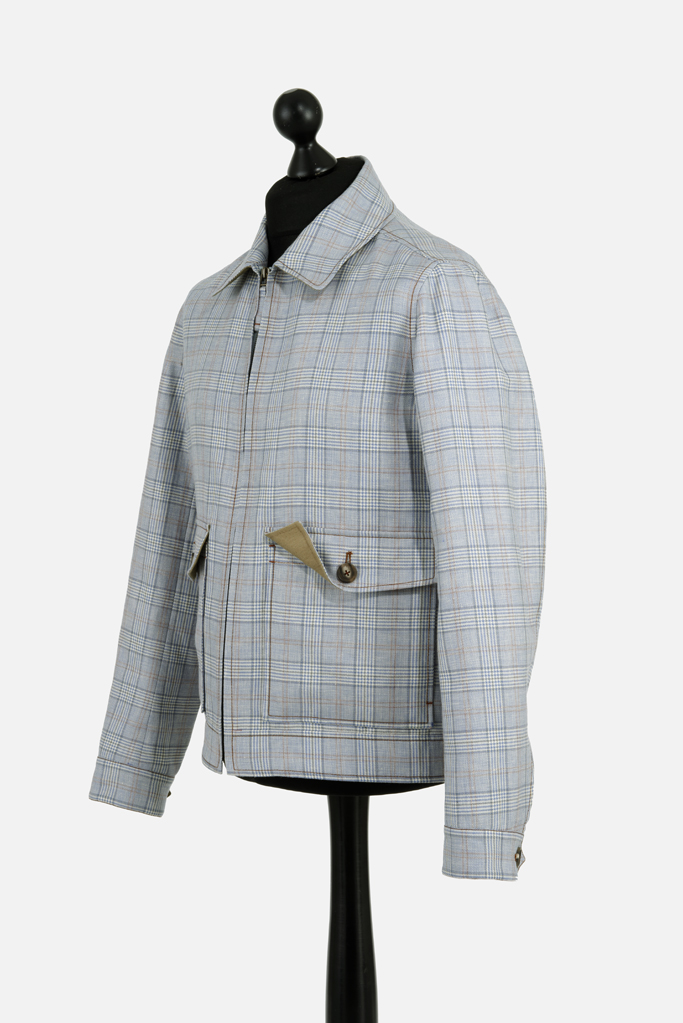 Fauconberg Jacket – Stoneblue Wool-Linen Check – Made in England