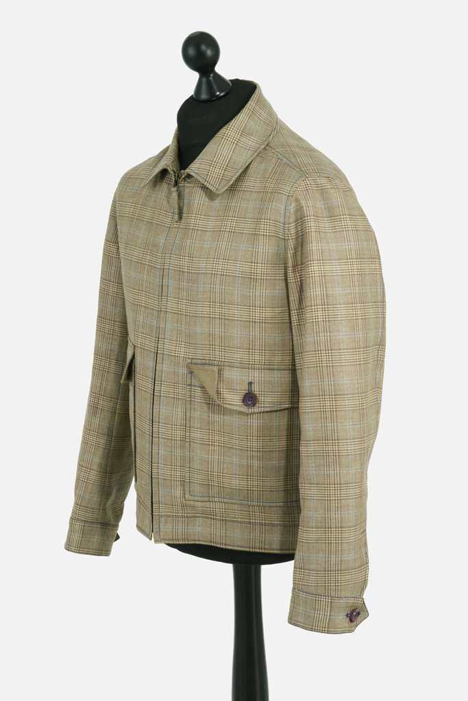 Fauconberg Jacket – Tan Wool-Linen Check – Made in England