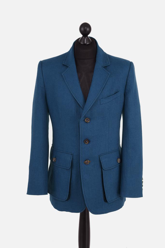Sarsfield Jacket – Celtic-Blue  Irish Linen – Made in England