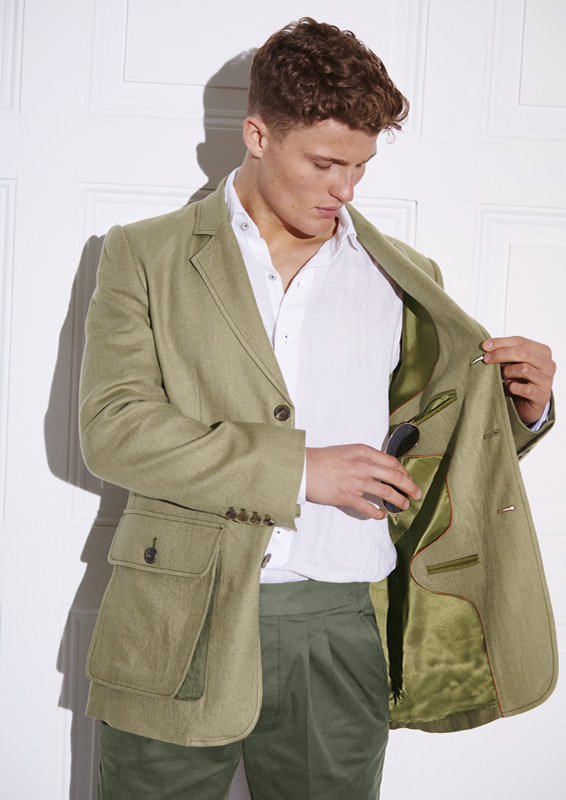 Sarsfield Jacket – Coffee Irish Linen – Made in England
