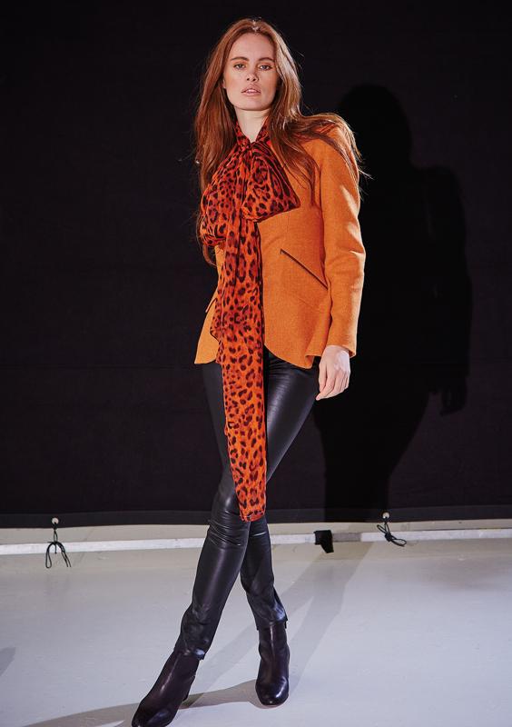 Leopard Scarf – Orange Silk Chiffon